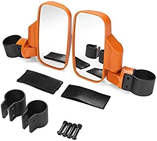 "Motobiker 1Pair UTV Side View Mirror for 1.75"" - 2"" Roll Cage Tempered Glass Breakaway Mirrors for Polaris Ranger RZR, Can Am Commander, Maverick X3, Gator, Teryx, Rhino YXZ and more (Orange)"