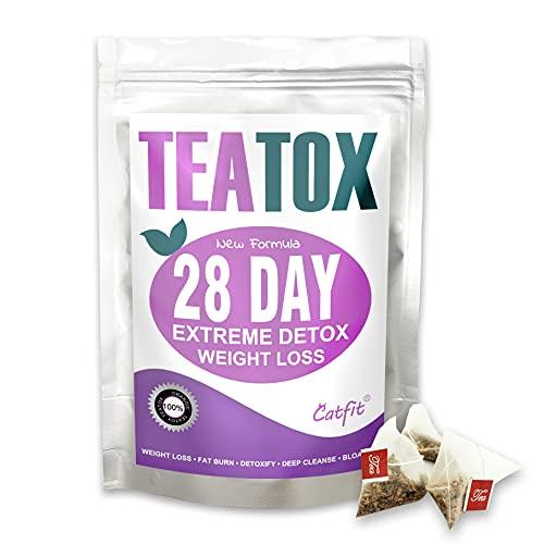 Catfit Detox Tea Herbal Tea Teatox , 28 Days Weight Loss Diet Tea for Cleanse