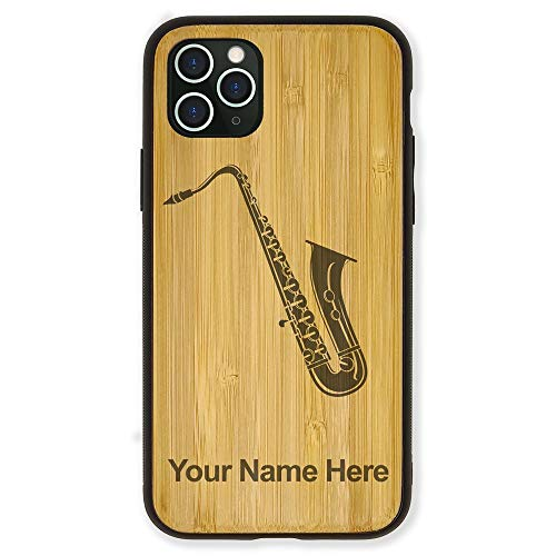 Case Compatible with iPhone 11 Pro Max, Saxophone, Personalized Engraving Included (Bamboo)