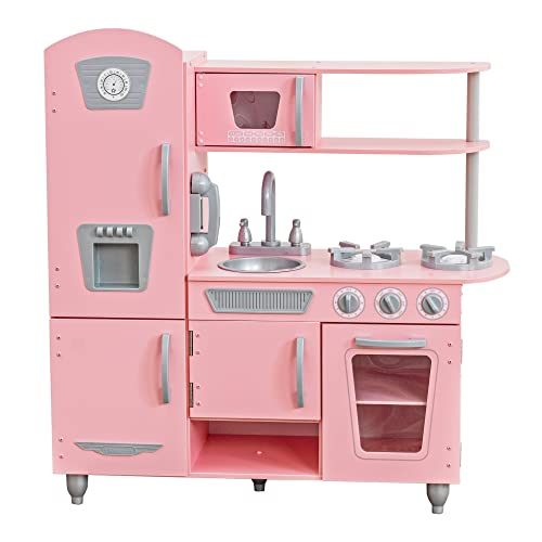 KidKraft 53179 Pink Vintage Wooden Play Kitchen for Kids with role play phone included