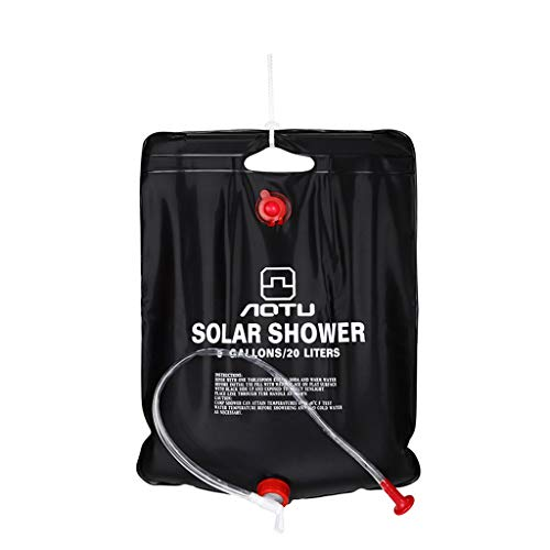 Fine Outdoor Solar Shower Bag,20/40L Camp Shower with Removable Hose and On-Off Switchable Shower Head for Camping Beach Swimming Outdoor Traveling Hiking (Black B)