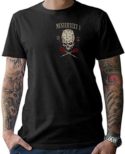 NG articlezz Camiseta Hombre Dardos Calavera Camiseta – Personalizable con Texto Deseado S-5XL con Frontal y Estampado en la Espalda - Negro/Negro, L