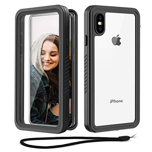 Beeasy Funda iPhone XS MAX Antigolpes,IP68 Certificado Sumergible Carcasa,360 Grados Protección Protector de Pantalla Incorporado,Case Estanca Impermeable Militar Antichoque Antipolvo,Negro