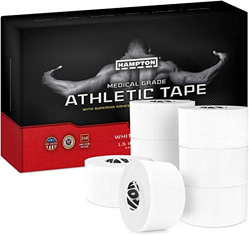 White Sports Medical Athletic Tape 1.5 Inch x 15 Yards per Roll (White, 8-Pack)