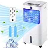 Nyxi 15L Air Cooler Fan & Air Purifier Portable High Cooling Evaporative Cooler with Remote Control and LED Display, 3 Fan Speeds with Oscillation Function, Purifier, for Home and Office Use, White