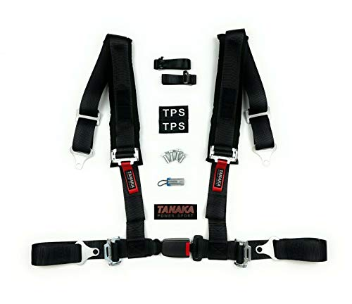 TPS TANAKA POWER SPORT High Performance 4 Point Harness with Bypass Plug for Sand Sport Vehicle, Utility Vehicle, Truck, Go Kart, Off-Road Vehicle (BLACK)