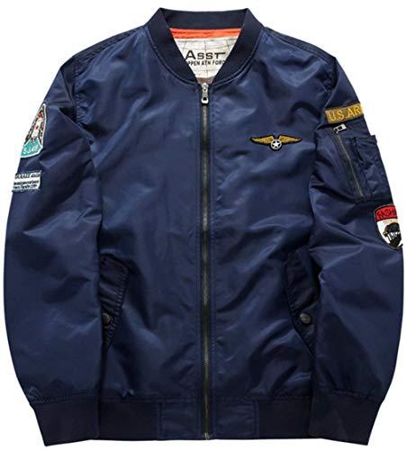 Heren klassiek bomberjack licht Force vliegenjack Air Vintage jongens rits jas windjack met badge patches