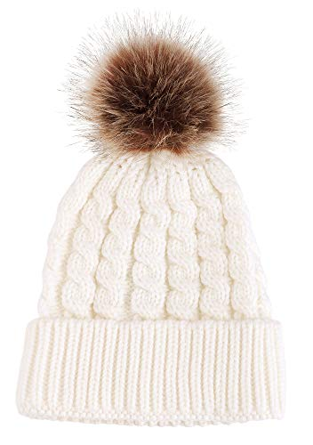 Simplicity Womens Beanie Winter Hand Knit Faux Fur Pompoms White Beanie Hat