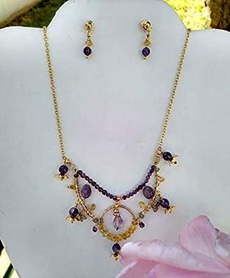 Citrine quartz, amethyst quartz, labradorite and agate. Necklace and earrings set, Handmade, Semi-precious stones, 22k gold plate chain. Made in Mexico