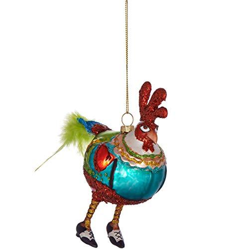 Butlers Hang ON Anhänger Mister Hahn - Stylische Weihnachtsdeko - Weihnachtsschmuck Baumschmuck - Glas