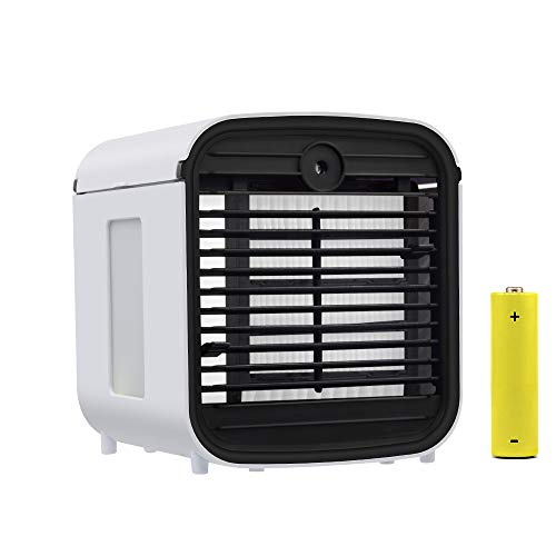 Air Mini Cooler – Mini climatizzatore portatile, 4 in 1, con connettore USB e luce a LED per Office Home Outdoor (bianco)