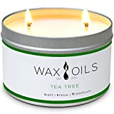Wax and Oils Soy Wax Aromatherapy Scented Candles (Tea Tree) 16 Oz.