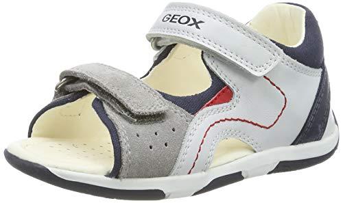 Geox B Sandal Tapuz Boy B, Sandalias para Bebés, White/Navy C0899, 24 EU