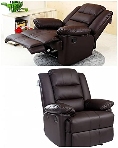 Kosoree Leather Recliner Armchair Sofa Home Lounge Reclining Chair Living Room Gaming Arm Chair Lazy Recliner Chairs for Bedrooms Manual Accent Oversize Single Padded Sofa Couch Home Theater Seating