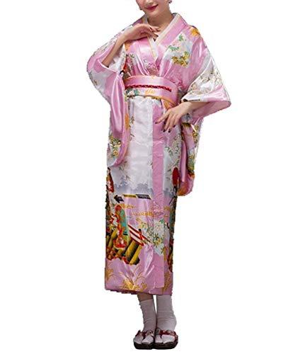 HaiDean Dames Japanse Geisha Kimono Jurk Jurk Lange Yukata pyjama Pajama Badjas Eenvoudige Glamoureuze Chemise