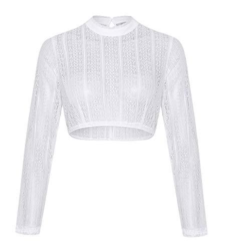 Schöneberger Trachten Couture Elegante & Exklusive Langarm Dirndlbluse aus Spitze Weiss/transparent - Dirndl Bluse Johanna (36, Weiss)