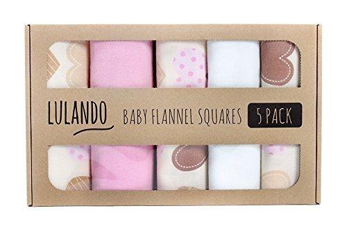 LULANDO Stoffwindeln und Moltontücher 70x80cm (5er Set). Waschbare Windeln und Spucktücher für Ihr Baby. Farbe: Herzen