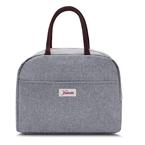 Yansanido Light Gray LARGE Lunch Bag,Best Christmas Gift, for Women Reusable Thermal Foldable Insulated Lunch Tote Picnic Lunch Organizer Lunch Holder Cooler Bag for Women/Men(Light Gray)