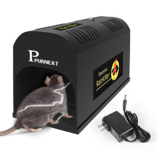 P PURNEAT Electric Rat Trap and Mouse, Rodent, Chipmunk Zapper -Instant and Humane Rodent Mice Effective and Powerful Killer Trap That Work【2020 Upgraded】-Mess Free Operation