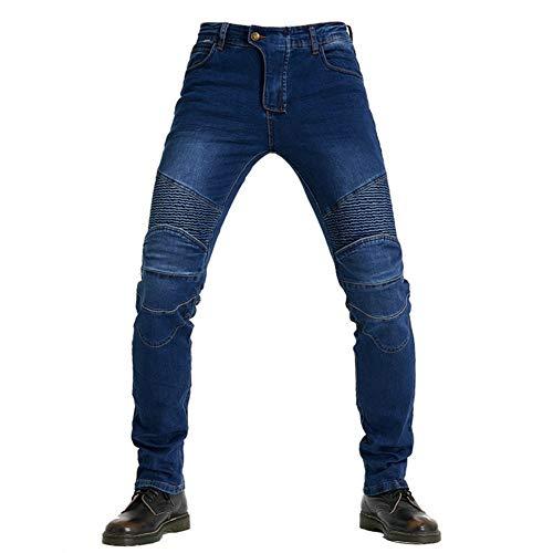 Motor-spijkerbroeken Voor Heren, Met Beschermende Uitrusting, Anti-fall Straight Leg-jeans, Motorrace-motorbroek (2XL,Blue)