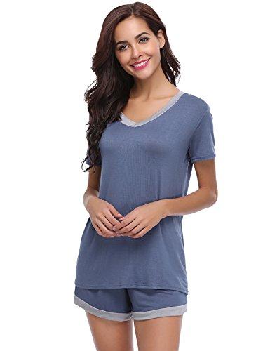 Aibrou Damen Pyjama Schlafanzug Baumwolle Kurz Nachtwäsche Nachthemd Hausanzug Kurzarm V Ausschnitt für Sommer Blau M