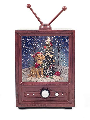 Vita Domi Brick Red 9' Musical TV Dog in Santa Hat with Christmas Tree Lighted Water Lantern Snow Globe with Swirling Glitter
