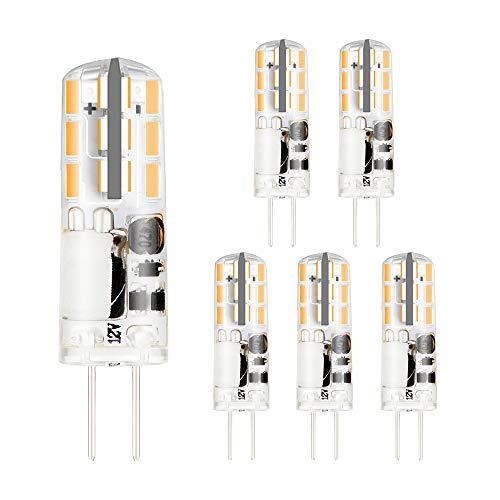 BOGAO G4 Bombillas LED AC DC 12V 2 W Reemplaza las lámparas halógenas de 15-20W Foco Súper brillante No regulable, Blanco cálido (3000K, 6 piezas)