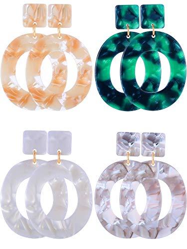 4 Pairs Acrylic Earrings Hoop Drop Earrings Bohemian Statement Earrings Resin Mottled Stud Earrings for Women Girls Jewelry (Style A)