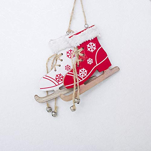 ngzhongtuhengtongjianzhugongchen Weihnachten Holz bemalt dekorative Anhänger Weihnachtsbaum kreative Schlittschuhe hängen Weihnachten Hauptdekorationen Großhandel...