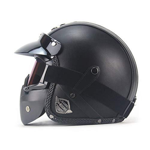ZZALLL Cascos de Cuero de PU Casco de Moto Vintage de Cara Abierta con Gafas - Oscuro