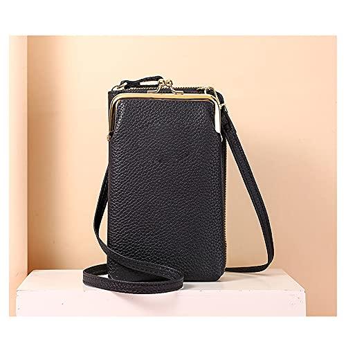 LLZZ Women Phone Bag Solid Crossbody Bag- Women Mobile Phone Bag Mini PU Leather Crossbody Purse Wallet Shoulder Pouch Bag (Black)