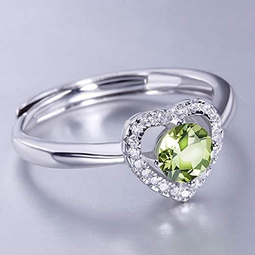 LYWZX Ringe Für Damen Verstellbar,Mode 925 Sterling Silber Olivine Zirkon Offene Ringe Für Damen Mädchen Party Schmuck