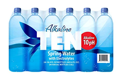 TEN Alkaline Spring Water, pH 10, High in Electrolytes, 16.9 Ounce Bottle (Pack of 24)