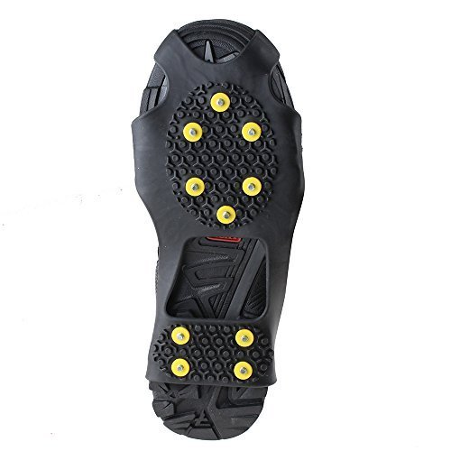 Non-slip Over Shoe, AGPtek Climbing Snow & Ice Cleats Grips Anti-Slip Studded Ice Traction Shoe Covers Spike Crampons Cleats Size S /M/ L/XL , Large