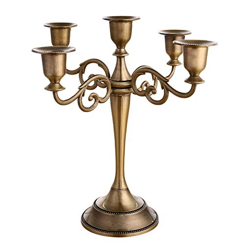 Kentop, candelabro a 5 bracci, portacandela da tavolo, in metallo, color argento, nero, bianco o oro (bronzo)