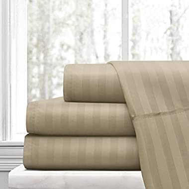Beckham Hotel Collection Luxury Soft Brushed Microfiber 4-Piece Striped Sheet Set - Hypoallergenic & Stain Resistant with Embossed Stripes - Queen - Taupe