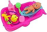 WXH SLL- Set Kleinkind Baby-erwachsenes Rollen Pretend Play Game Puppe Bad in der Badewanne Developmental Vorschulwasserspielzeug w/Puppe Geschenk Rot