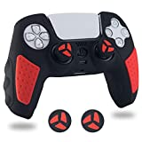 BRHE PS5 Controller Skin Anti-Slip Silicone Grip Cover Protector Rubber Case Accessories Set for Playstation 5 Gamepad Joystick with 2 Thumb Grip Caps (Red Black)