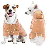 ROZKITCH Dog Fleece Jacket Hoodie in Winter, Cold Weather Small Dog Jacket Windproof Pet Coats with Hooded Boy Male Girl Puppy Pet Winter Snowsuit Clothes Warm Autumn Outfit Doggie Red Light Brown