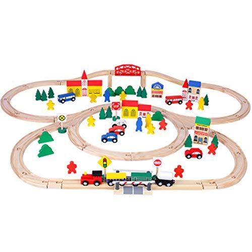 Juego De Juguetes De Pista Juego de trenes de principiantes de ferrocarril Juguete para niños para niños Locomotora y carruajes de carriles de ferrocarril y accesorios de juego Adecuado Para La Constr