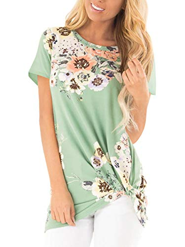 Juniors Tops Blouses Summer Daisy Floral Womens Casual Twist T Shirts Green S