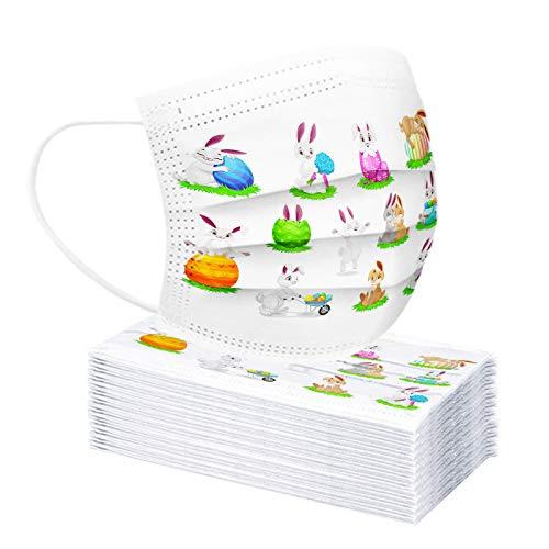 Homemarke 10-100 Stück Kinder Ostern Einweg Mundschutz,3 lagig Cartoon Hase Ostereier Druck Staubdicht Atmungsaktiv Mund-Nasen Bedeckung Halstuch Schals(A 10,30 Stück)