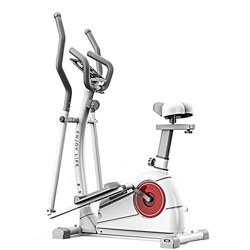 AORISSE Cyclette Ellittica, Cross Trainer ellittico Fitness a Controllo Magnetico 3 in 1 Macchina ellittica Cyclette Space Walker Machine con Sedile Attrezzatura da Palestra,Bianca