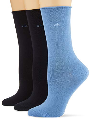 Calvin Klein Socks Womens Crew 3p Bamboo roll top Juno Socks, Blue Combo, ONE Size