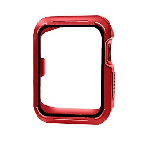 NVFED Custodia Protettiva per Shell per IWATCH Series 6 SE 5 4 3 2 1 Copertura in Silicone PC Bumper per Apple Watch 44mm 40mm 42mm 38mm Nuovi Accessori (Color : Red Black, Dial Diameter : 38mm)