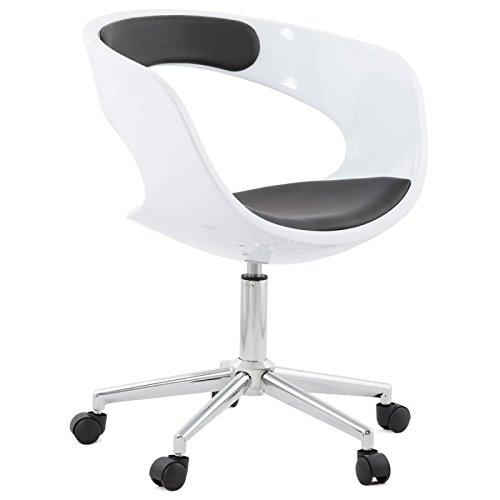 MK Chaise de Bureau spère Ramos en Simili Cuir (Blanc et Noir)