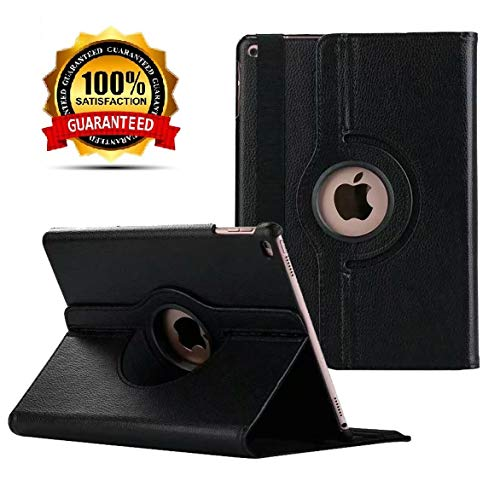 New iPad 2017 9.7' / iPad Air 2 Leather Case,360 Degree Rotating Stand Smart Cover with Auto Sleep Wake for Apple iPad Air or New iPad 9.7 Inch 2017 Tablet (Black)