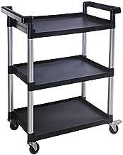 MaxWorks 80774 3-Shelf Utility Plastic Cart with Wheels-225 Lbs Maximum Capacity