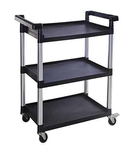 MaxWorks 80774 3-Shelf Utility Plastic Cart with Wheels-225 Lbs Maximum Capacity , Black