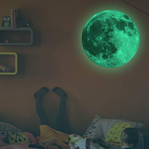 Diofent Glow in The Dark Moon 30cm Night Light Glowing Luminous Wall Art Stickers Removable Adhesive Wall Decal for Kids Boy and Girl Bedroom